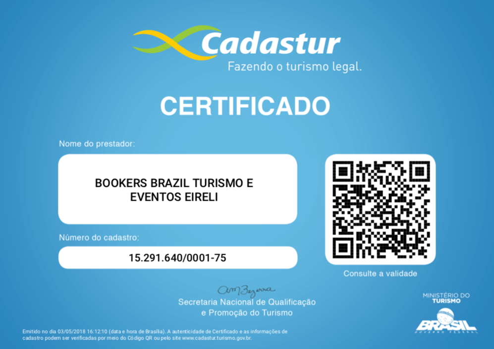 Certificado Cadastur - Bookers International