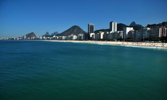 Leme and Copacabana beach sunny day. Rio de Janeiro